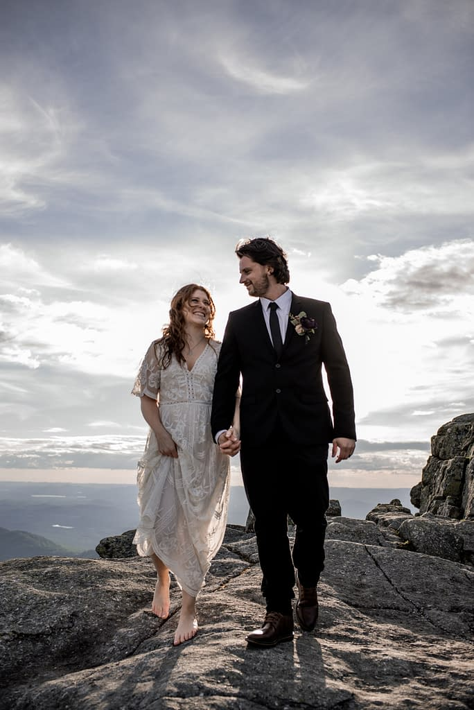 Elopement in the Adirondacks upstate New York on top of a mountain
