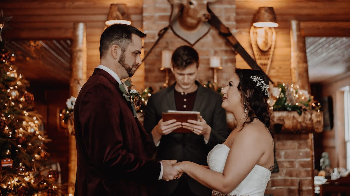 Winter elopement in the rustic Lake Placid Stagecoach Inn in upstate New York
