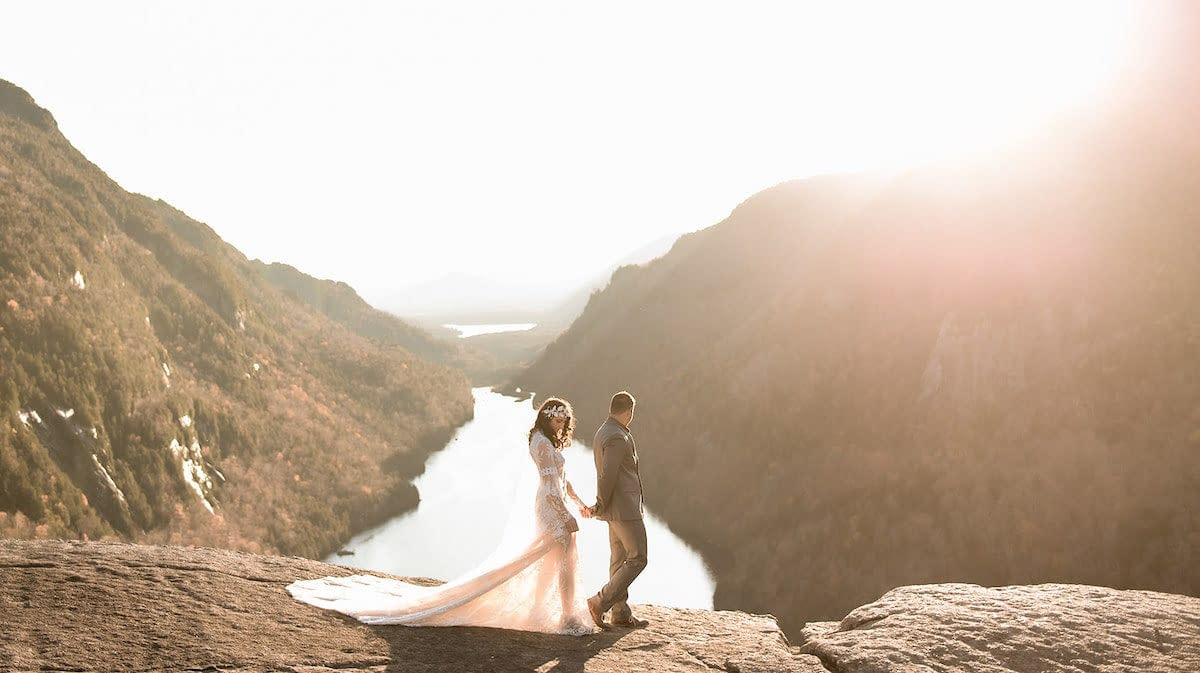 Elopement at Indian Head in Keene Valley, NY at sunset overlooking the Au Sable River