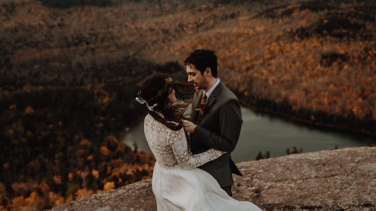 Bride and groom eloping on Mount Jo in Lake Placid, NY, one of the best places in New York to elope