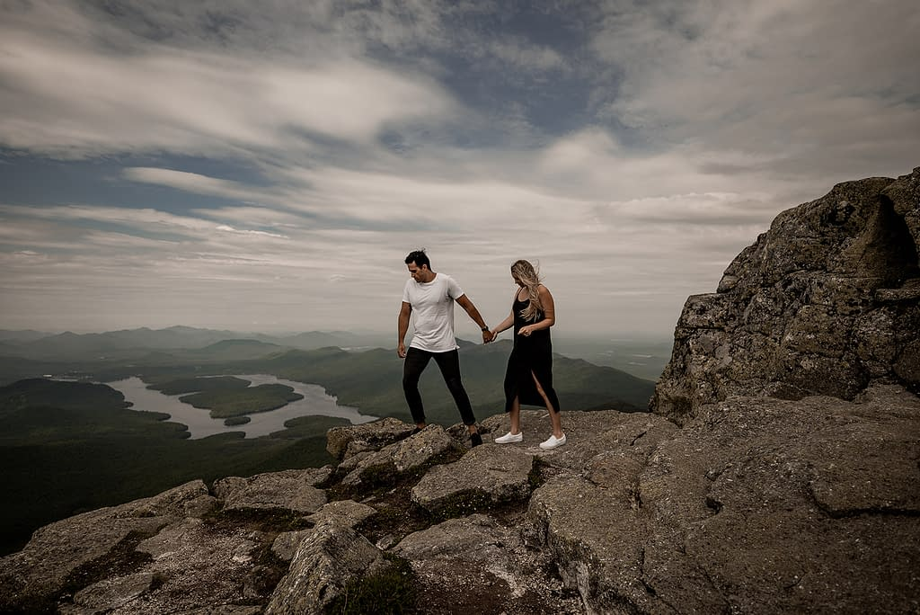 Engagement photo on Whiteface Mountain in the Adirondacks in Wilmington, NY