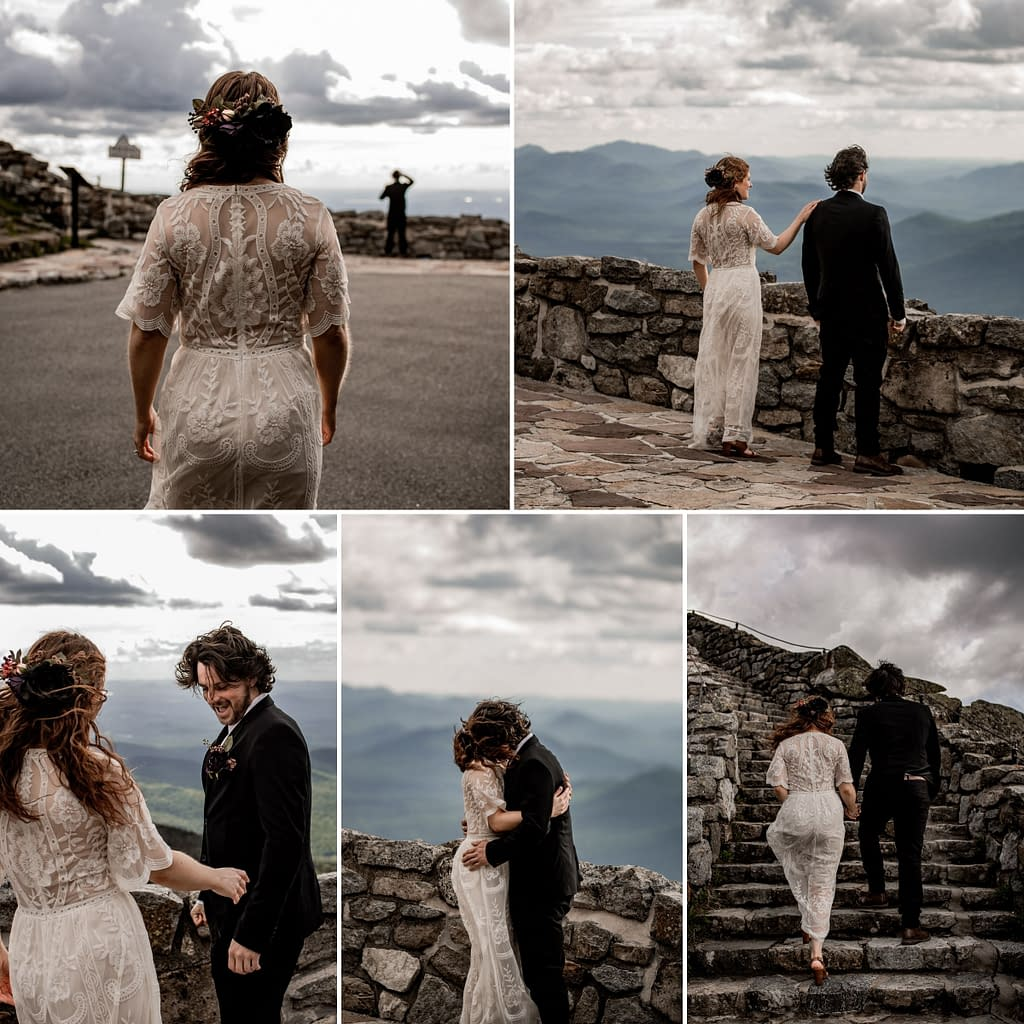 Elopement on Whiteface Mountain, first look photos with bride and groom