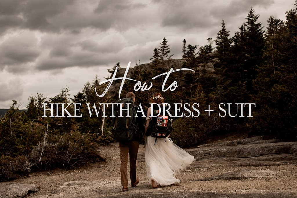 How to hike to a mountain summit with a wedding dress and suit