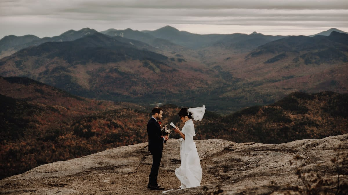 Fall foliage elopement on Hurricane Mountain in Keene, NY