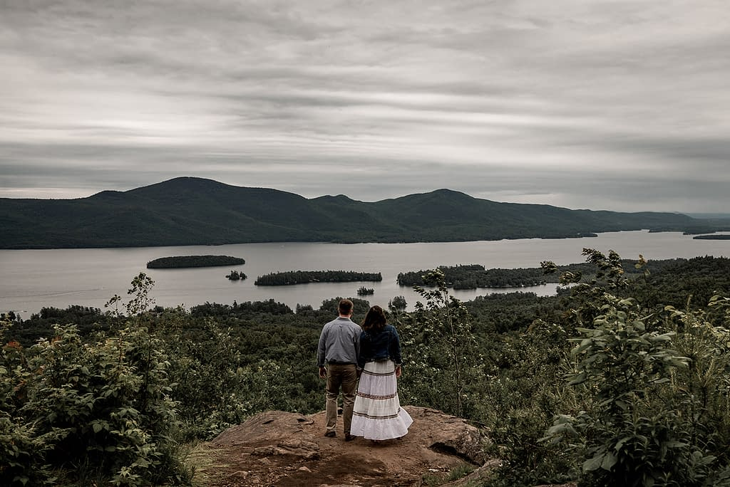 Engagement photo on The Pinnacle in Bolton Landing, overlooking Lake George in the Adirondacks