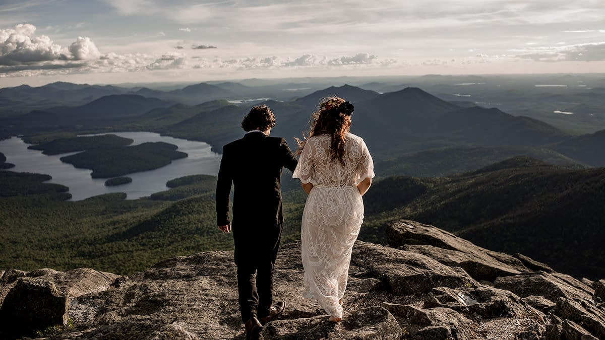Elopement on Whiteface Mountain in Wilmington, NY overlooking the ADKs at sunset