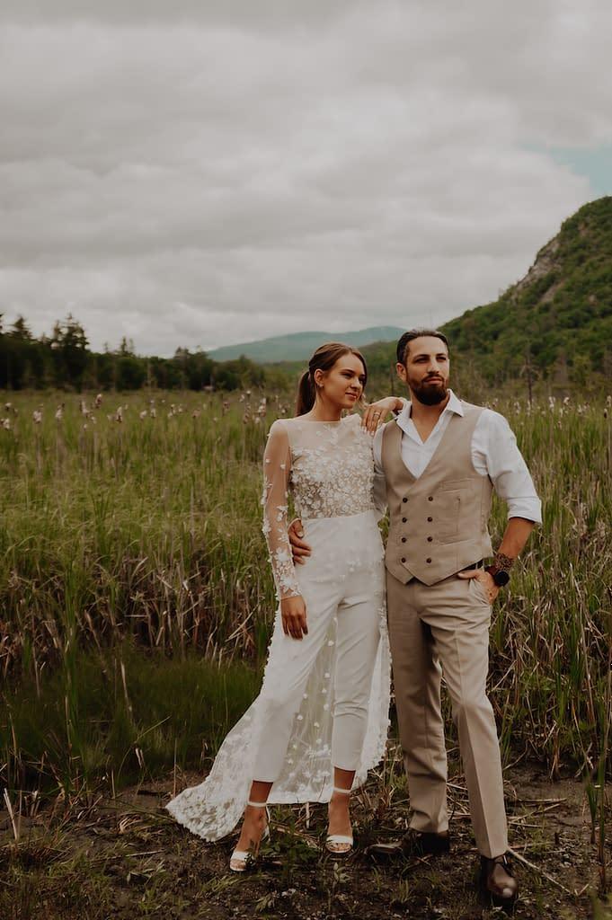 Wedding in a field in the Adirondacks