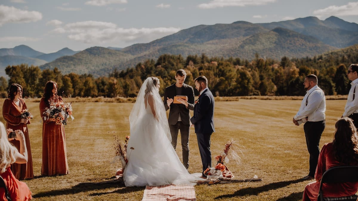 Elopement in Marcy Field in Keene Valley, NY with a few family and friends