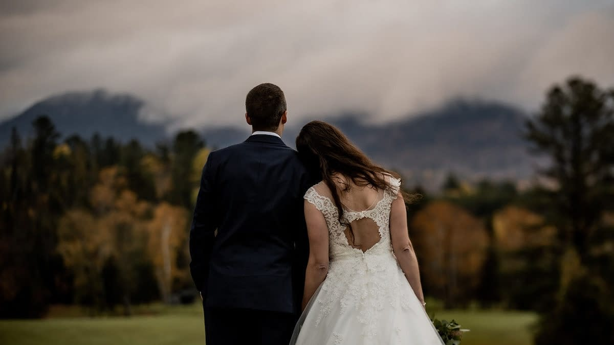 Elope in Lake Placid, New York on a foggy day with the ADK mountains in the background