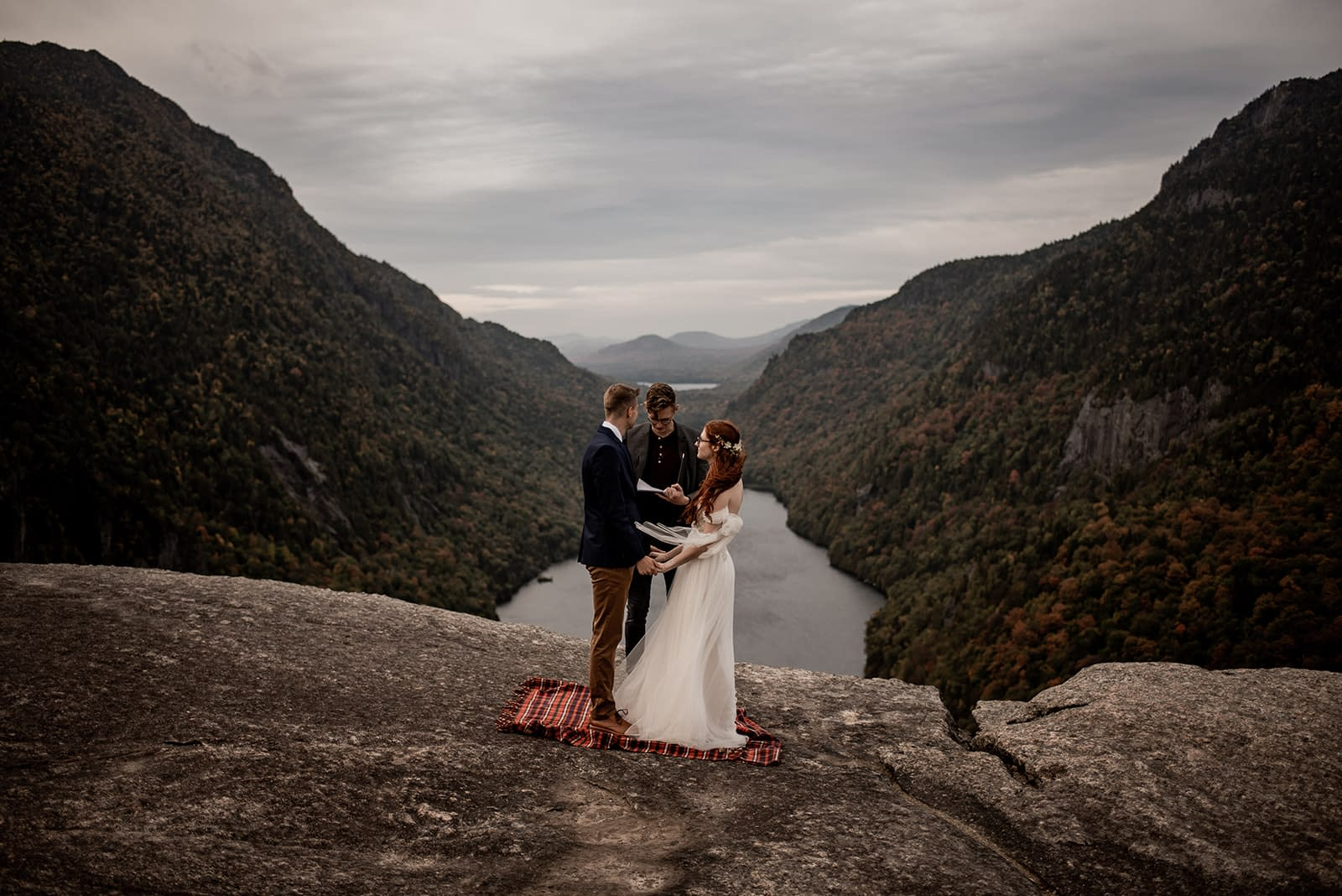 Elopement ceremony above the Ausable River in the Adirondacks