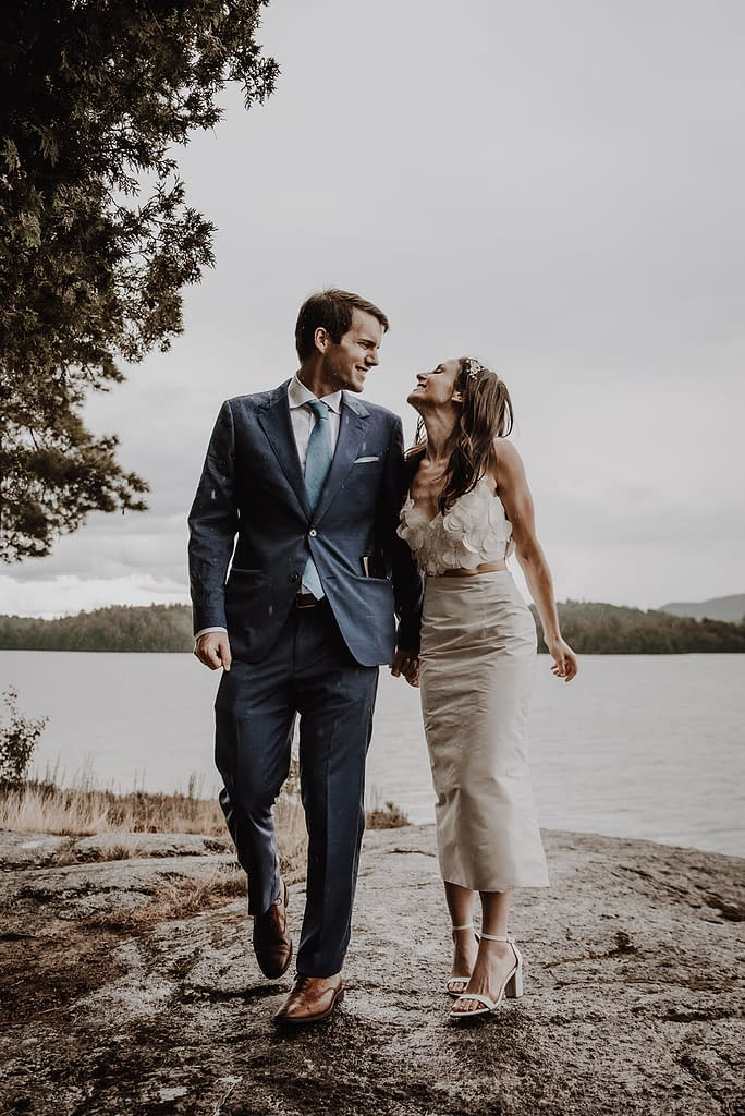 Elopement in Lake Placid, NY on a rainy day