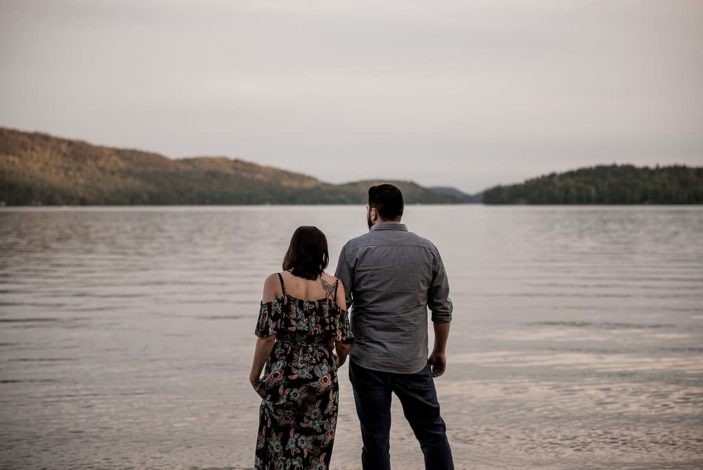 Proposing on the beach in Schroon Lake, NY in the Adirondacks
