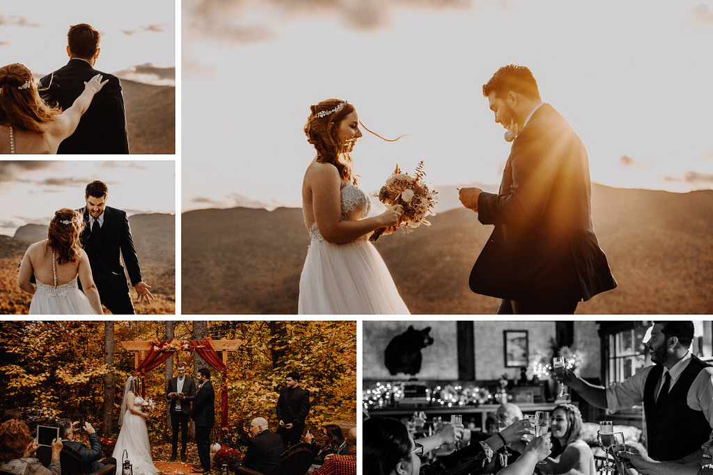 Danielle and Anthony's elopement in Lake Placid, NY with their friends and family as guests