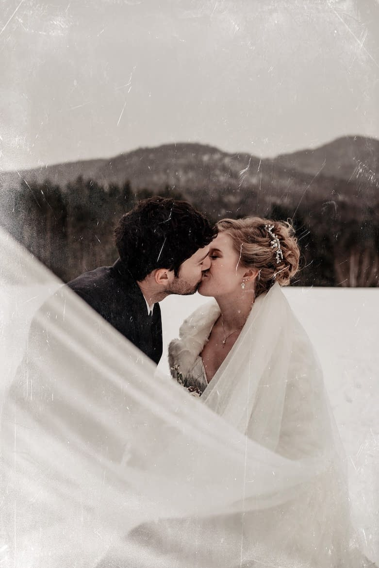 Jessica and Paul bridal portrait in the snow in the Adirondacks
