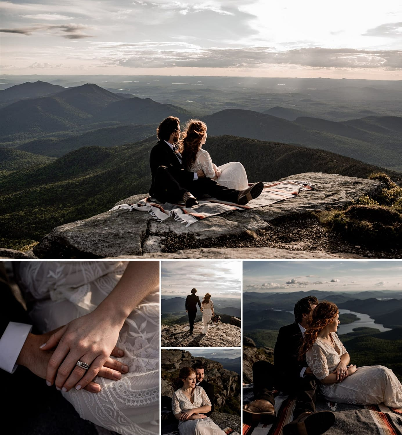 Wedding portraits at this mountaintop elopement in the Adirondacks, on Whiteface Mountain